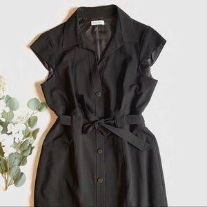 CK | black button up dress knee length sz 12 large